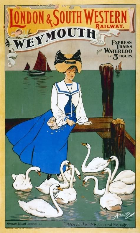 Weymouth poster from the London & South Western Railway. Times have changed, but the journey from Waterloo to London still takes three hours today.