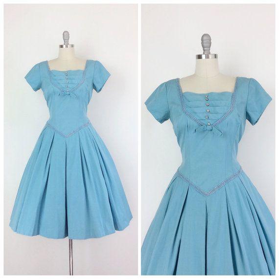 50s abito di cotone con strass blu / 1950s Vintage Party Sun estate giorno vestito / grande e taglia 10-12