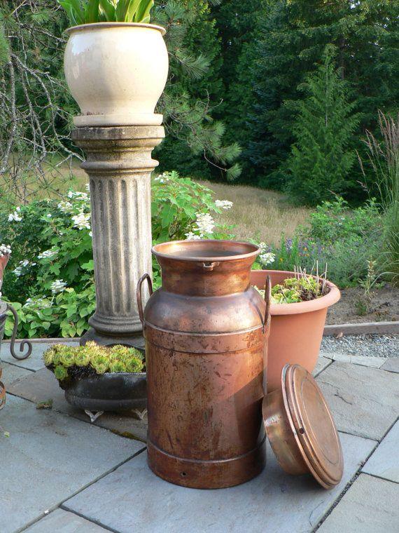 Solid Copper Milk Can Umbrella Stand Plant Stand Home Decor