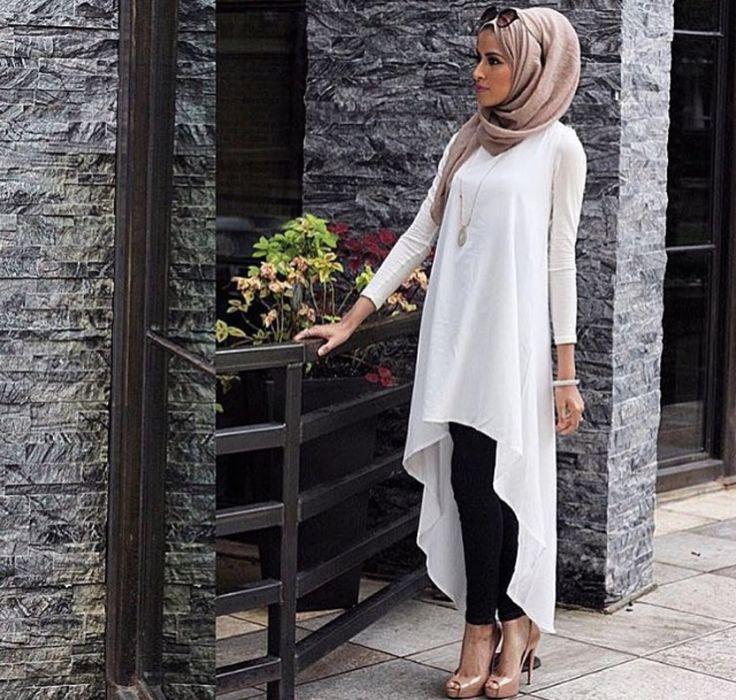 Beige top n black pants hijab style