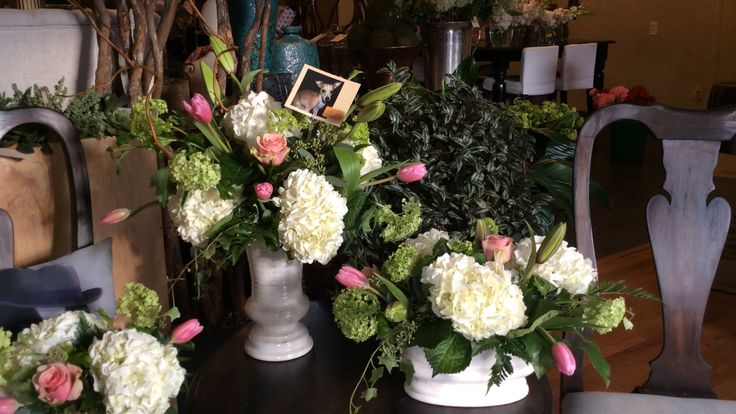 Spring Arrangements. We love viburnum and tulips! bloomswedding.com
