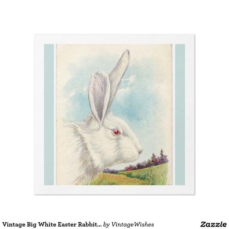 Vintage Big White Easter Rabbit Light Blue Paper Dinner Napkin