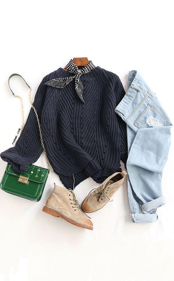 Slit Side Dip Hem Textured Sweater