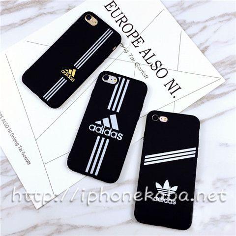 Adidas アイフォンX 8plusケース 高校生 運動風 黒 アディダス iPhone8 ケース ソフト シンプル ブランド iphoneX カバー シリコン ペア 男女兼用 安い