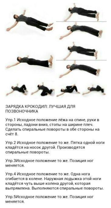 Упражнения для спины крокодил с картинками