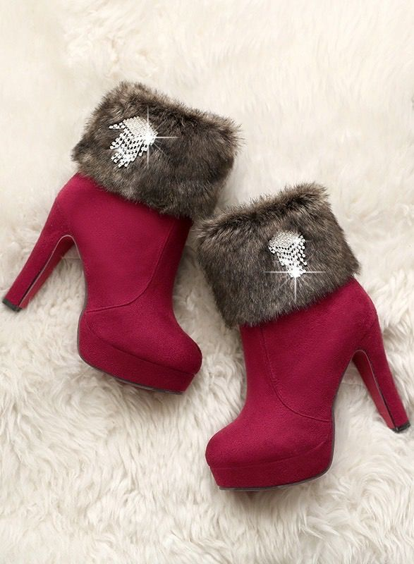 Cute fur winter boots