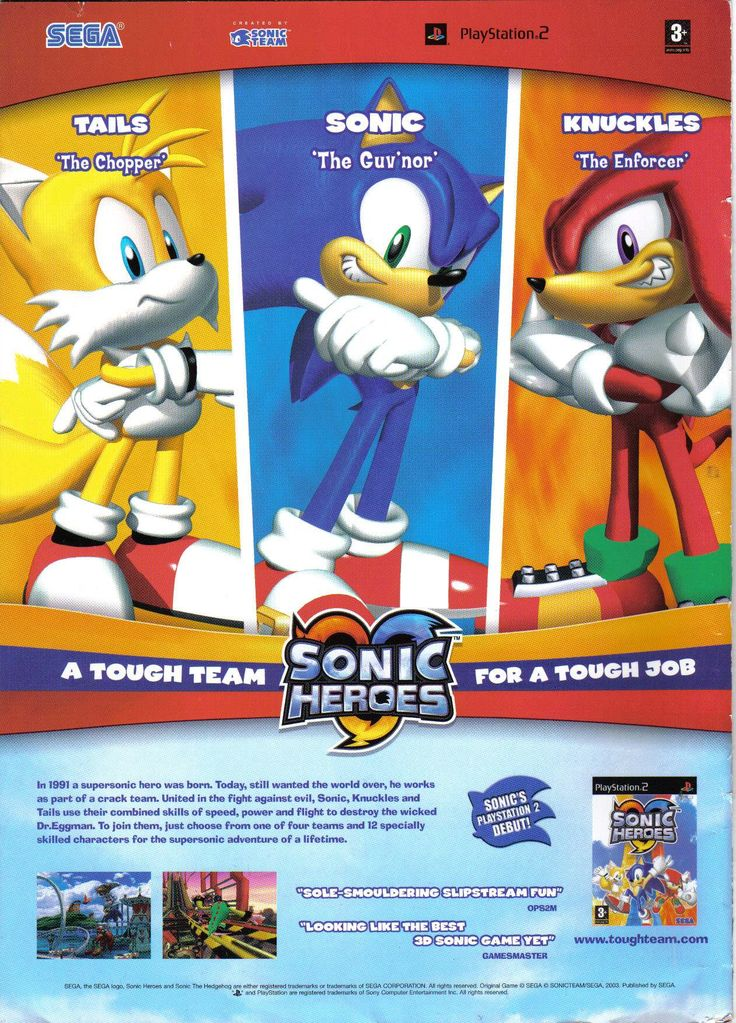 """vgjunk: """" Sonic Heroes advert. Yes, Tails definitely looks very tough here. """" Guv'nor?"""