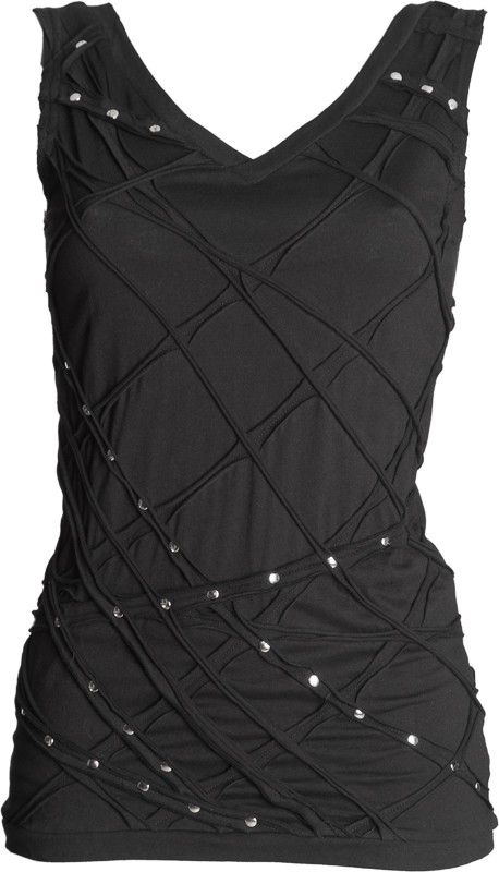gothic black tank-top with silver rivets by Queen of Darkness