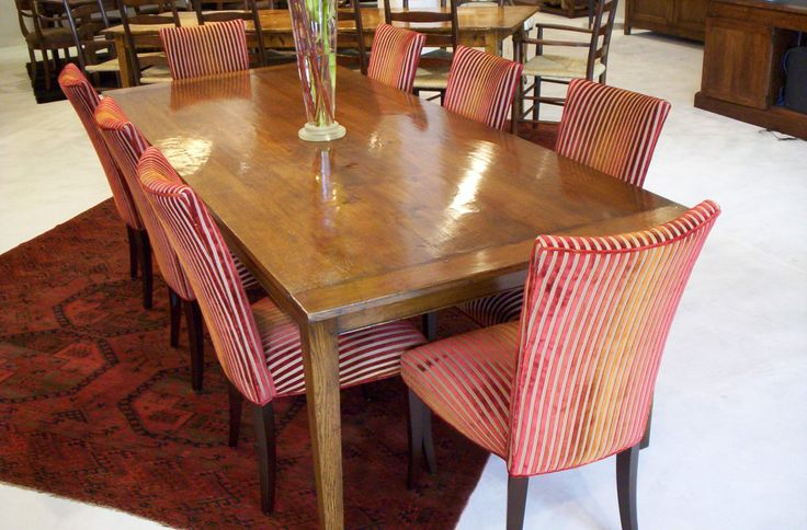 Claudia Chairs & French Oak Provincial Dining Table  -  Chair Fabric And Leg Stain of Choice