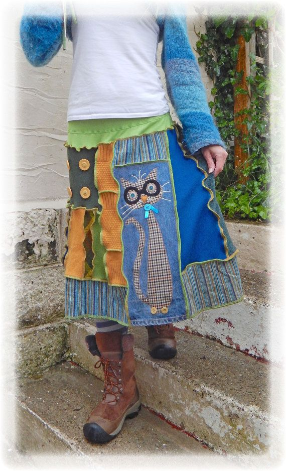 Preppy Quirky Cat Skirt Upcycled Stretch Denim by TheTopianDen