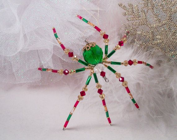 Christmas Ornament Green and Red crystal beaded Christmas Spider Ornament  with Christmas Spider Legend | My Spiders and other creations!!! - Christmas Ornament Green And Red Crystal Beaded Christmas Spider