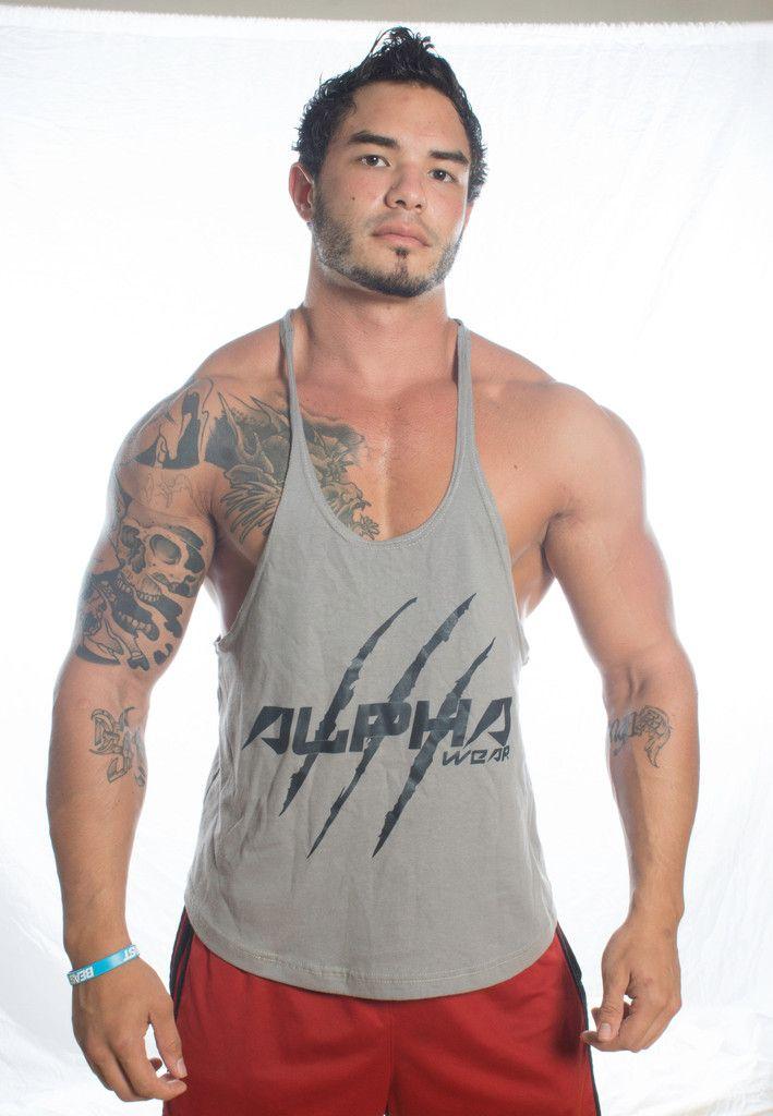 Men S Fitness Stringer Tank Grey Black Ronnie