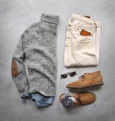 Para el invierno  Los pantalones café clarao, El zapatos de tenis café, y el suéter gris. Cuestan 100$/ 114€
