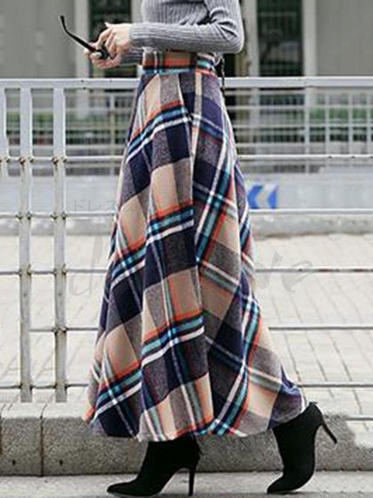 秋冬レディースチェック柄スカート マキシ丈フレアスカート チェック柄 裏地あり ウエストゴム 秋冬コーデ 合わせやすい 12991419 - ロングスカート - Doresuwe.Com