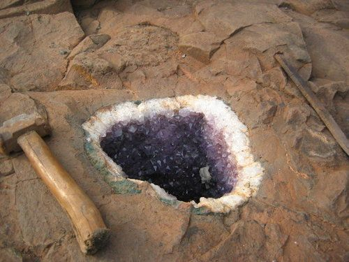 Amethyst geode in its parent rock   <<<< How cool is this?  I wish I was able to hunt rocks and minerals like this!    <3~R~<3