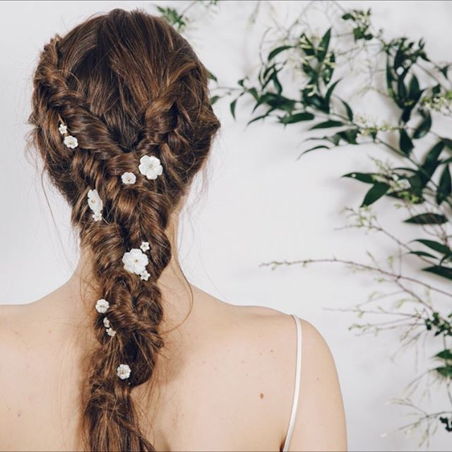 Wedding Inspiration from debbiecarlisle.com Minna hairpins - mother of pearl carved flowers with gold, silver or rose gold centres (more styling ideas via the link in my profile) x
