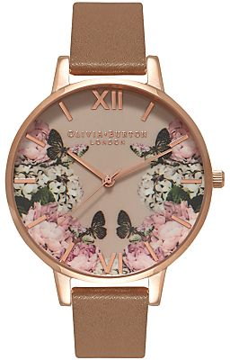 Olivia Burton OB15EG45 Women's Enchanted Garden Leather Strap Watch, Taupe/Multi