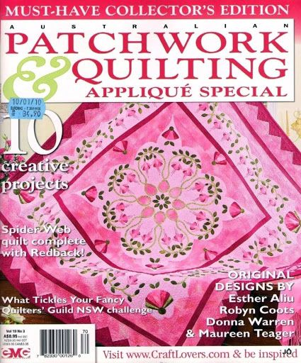 australian patchwork quilting -2010 93 pages with patterns series quilt girls in the garden part 1