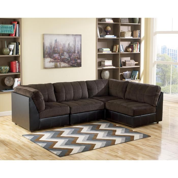 Hobokin 4 Piece Modular Sectional In Chocolate Nebraska Furniture Mart Project New Furniture