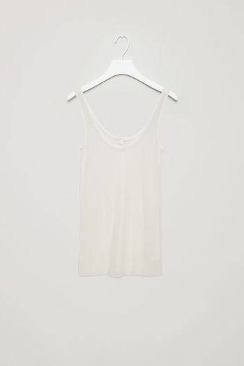 COS image 2 of Sheer silk vest top in White