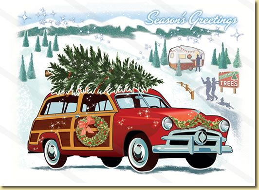 In the air there's a feeling of Christmas!  woodie wagon car christmas card