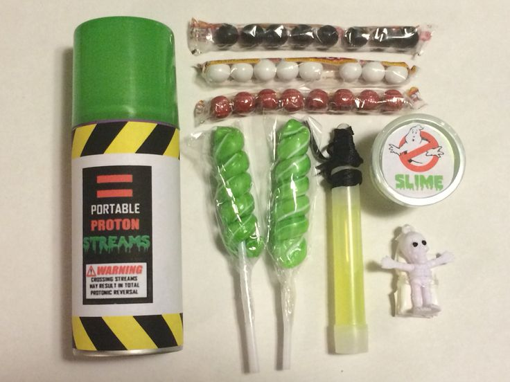 Goody Bags: Portable Proton Streams (goofy string from Dollar Tree), Slime (glitter putty from Party Supply, candy, glow stick, skeleton parachuter