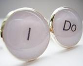 Silver Plated I Do Cufflinks - Present for Husband, Groomsmen, Ushers, Best Man, Wedding Cufflinks, Romantic, Valentines Day
