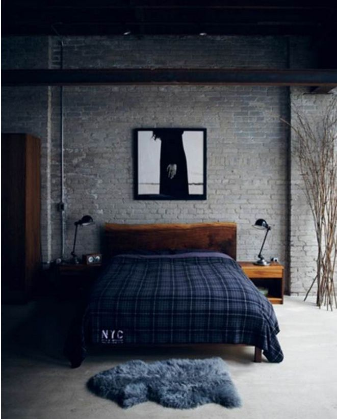 Rustic Masculine Bedroom Ideas: Great Colors For Guys Room. Very Industrial! Wall Amazing