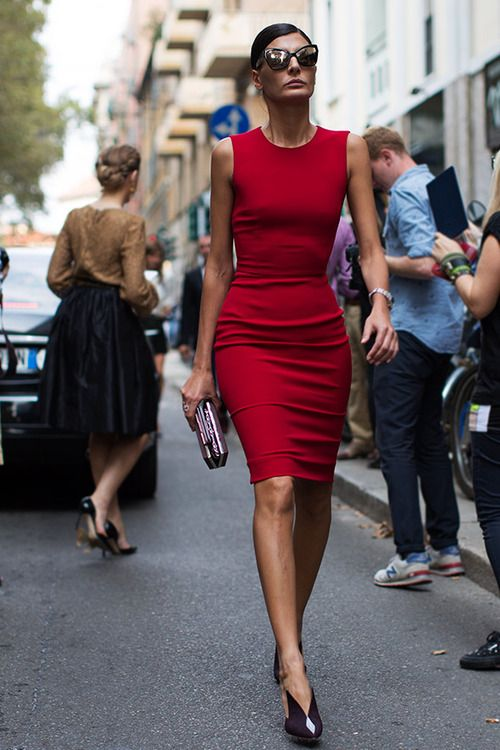 Street fashion...The Lady in Red sexy dress. Giovanna Battaglia at Milan Fashion Week