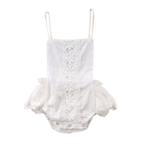 New Arrival Baby Girl Halter White Lace Floral Romper