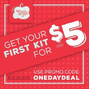 ONE DAY ONLY!  First-time Paper Pumpkin Subscribers receive their kit for $5.  Special runs June 9, 2016, at 5pm MT to June 10, 2016, at 11:50pm MT.    Subscribe using this link: https://mypaperpumpkin.com/?demoid=75805