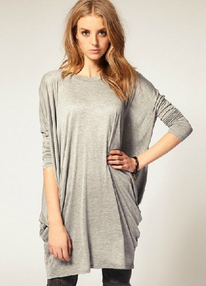 Grey Batwing Long Sleeve Loose T-Shirt - Sheinside.com