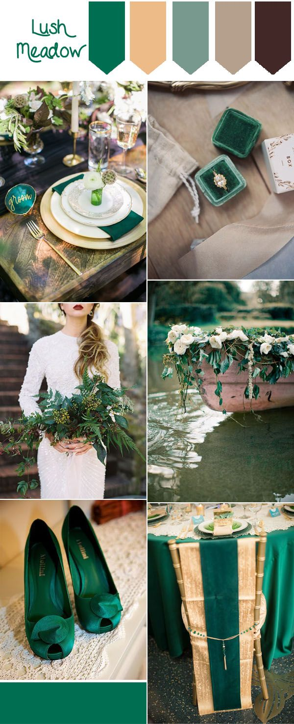 pantone fall wedding color ideas- lush meadow and glitter gold forest weddings
