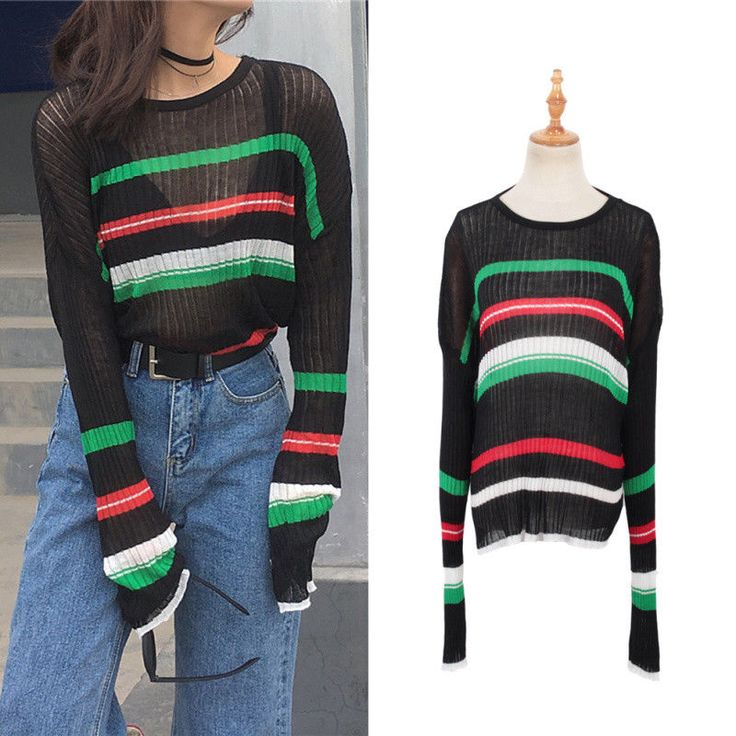 Women Sweater Pullover Autumn Fashion Block Colour Striped Knitting Sueter Mujer