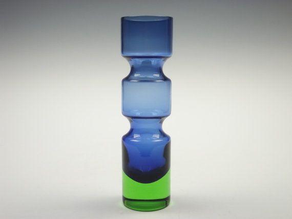 Aseda blue and green glass vase by Bo Borgstrom