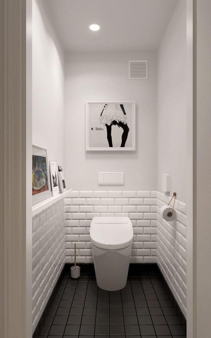 Egy fiatal pr 60m2-es laksa - geometriai mintk, vilgos fa elemek,  skandinv. White Bathroom TilesBathroom SmallBlack ...