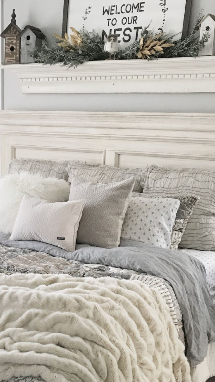 Gray And Cream Farmhouse Bedding In Master Bedroom ️