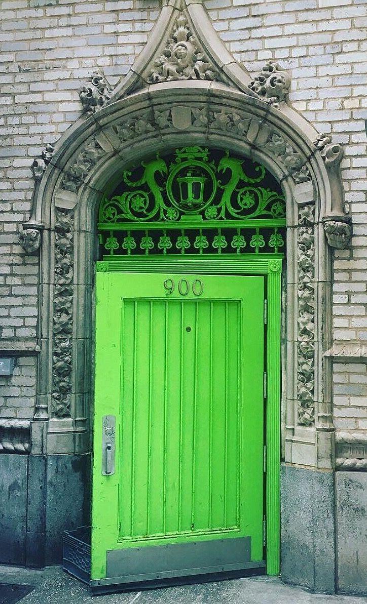 Green door in New York, NY.