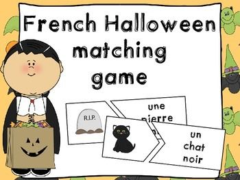 French Halloween matching reading game