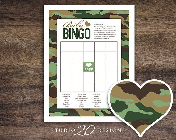 """Instant Download Green Camo Baby Shower Games by Studio20Designs. This Camouflage Baby Bingo game is 8.5""""x11"""". TO PLAY: Guests fill in each empty square with one possible gift the Mom-to-be might receive (there is a small list provided to help spark ideas). As gifts are opened they mark off matching squares. The first person to get five in a row wins!"""