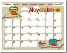 cute printable blank calendars - and even better, a pre-k ABC curriculum that gives lots of great ideas :)