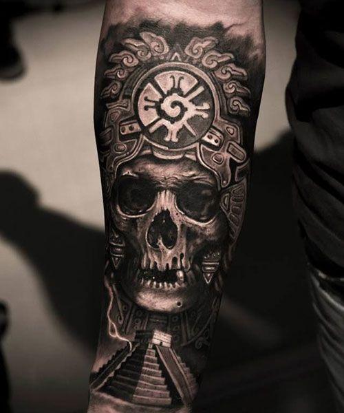 125 Best Skull Tattoos For Men Cool Designs Ideas 2020 Guide Aztec Tribal Tattoos Mayan Tattoos Aztec Tattoo