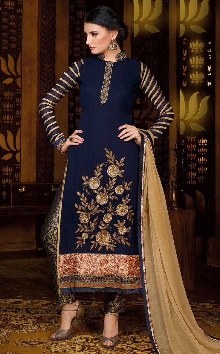 Fabric :- Pure Georgette #PartYWearSuit  Price :- Rs.2060/-  Design No.:- Sb-4120-14001  Product Page :- http://www.unnatiexports.com/design/closeup/women-party-wear-suits-a-1125-b-1.html