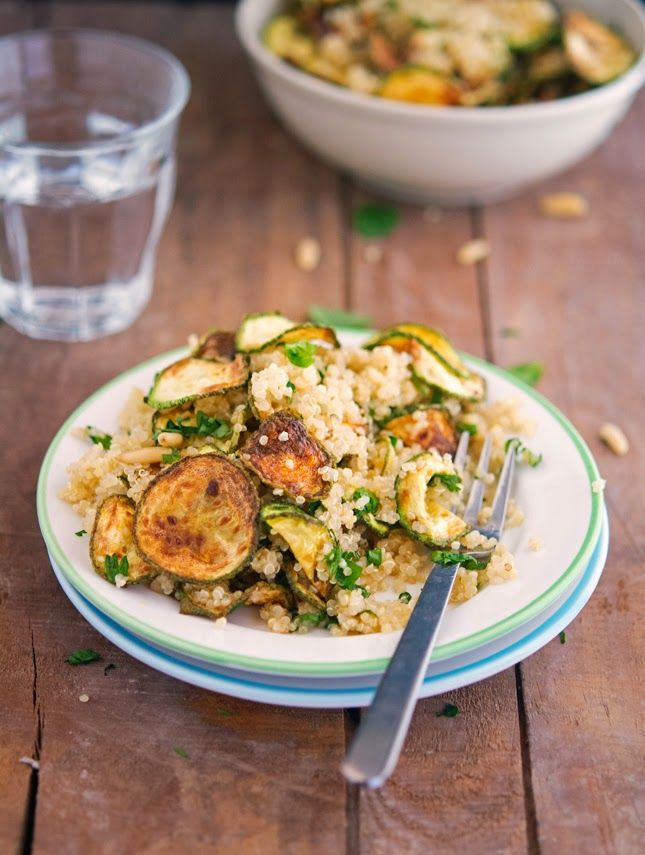Zucchini Chip, Mint and Quinoa Salad with Lemon-Parsley Dressing