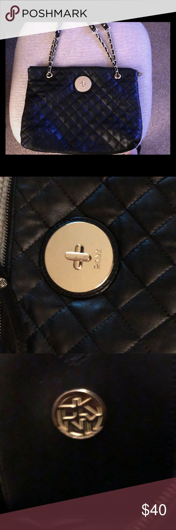 DKNY Handbag DKNY Black quilted leather bag without gold chain.soft leather. Only worn a couple of times, slightly Scratched Dkny Bags