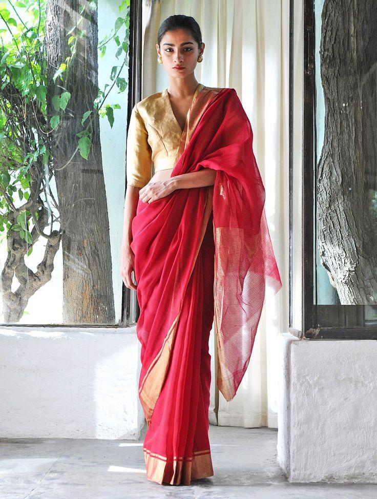 Red Cotton Silk Zari Handwoven Saree by Raw Mango