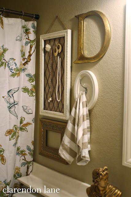 183 best decorative towels and linens images on pinterest for Bathroom decor frames