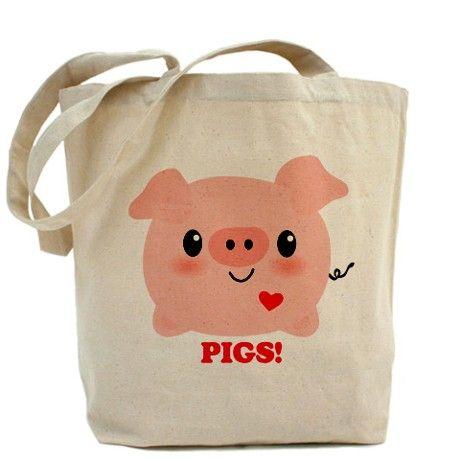 Kawaii I Love Pigs Tote Bag