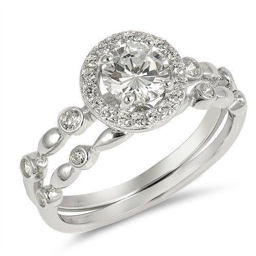 2.2CT Round Cut Russian Lab Diamond Halo Bridal Set Wedding Band Ring