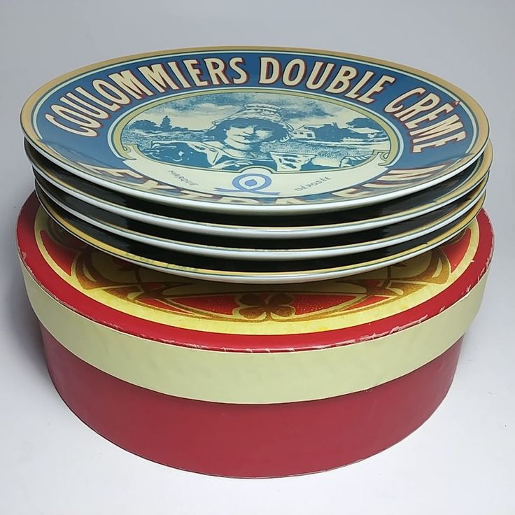 Coulommiers Double Creme Extra-Fin Paris BIA 2003 Set of 4 Identical Plates
